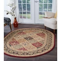 Alise Soho Red Oval Traditional Area Rug - 6'7 x 9'6