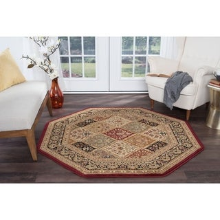 Alise Soho Red Traditional Area Rug (7'10 Octagon)