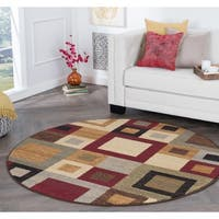 Alise Rugs Rhythm Contemporary Abstract Round Area Rug - multi - 7'10 x 7'10