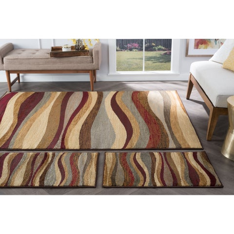 Alise Rugs Rhythm Contemporary Abstract Three Piece Set - multi - 5' x 7'