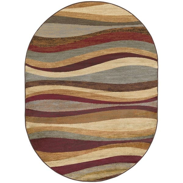 Contemporary Abstract Oval Area Rug
