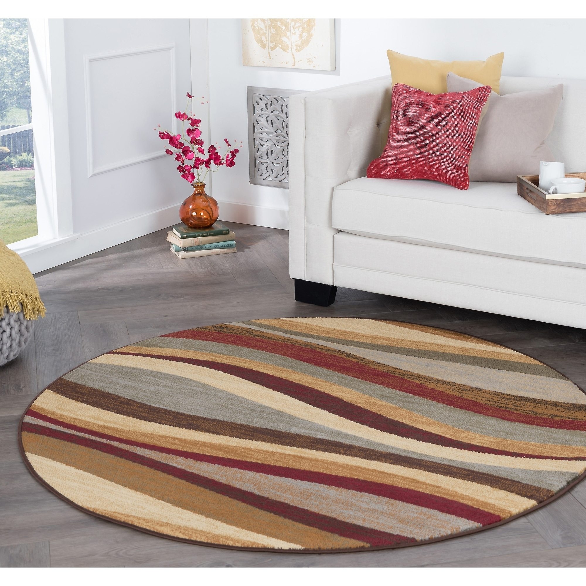 Image of: Shop Alise Rugs Rhythm Contemporary Abstract Round Area Rug 5 3 X 5 3 Overstock 9307022