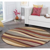 Alise Rugs Rhythm Contemporary Abstract Round Area Rug - multi - 5'3 x 5'3