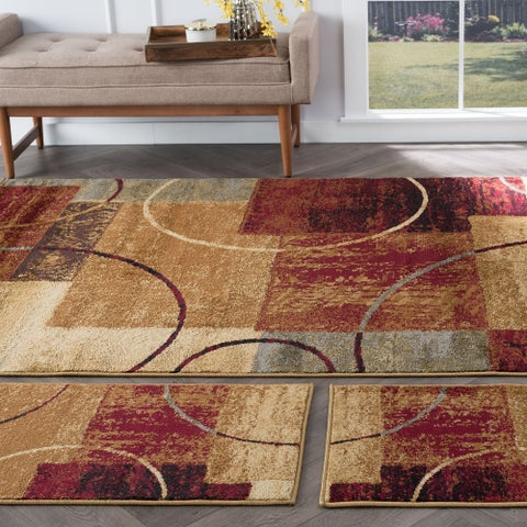 Alise Rugs Rhythm Contemporary Abstract Three Piece Set - 5' x 7'