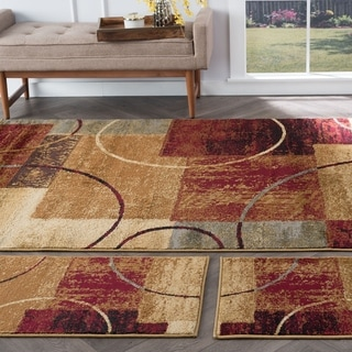 Alise Rhythm Multi 3-piece Contemporary Rug Set