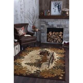 Alise Natural Brown Lodge Area Rug (7'10 x 10'3)