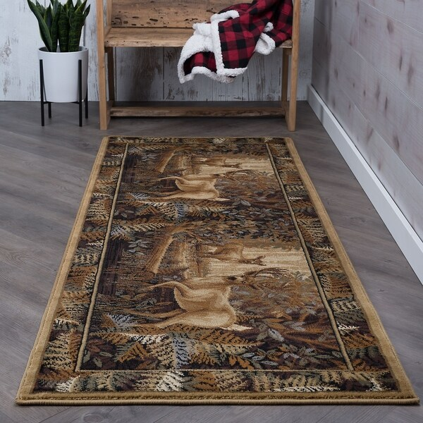 Alise Rugs Natural Lodge Novelty Lodge Runner Rug - 2'7 x 7'3