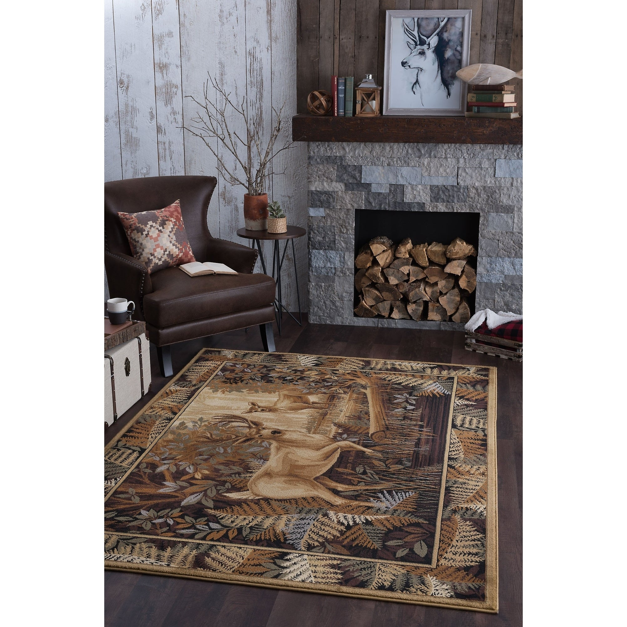 Alise Natural Beige Lodge Area Rug (5'3 x 7'3), Size 5' x...