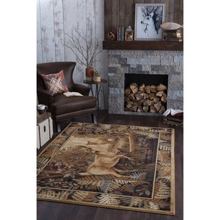 Alise Natural Beige Lodge Area Rug (5'3 x 7'3)