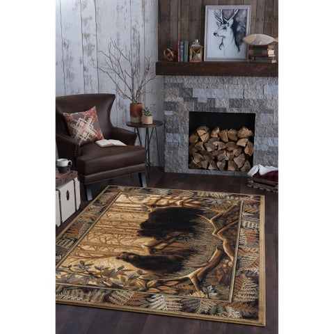 Alise Natural Beige Lodge Area Rug - 7'10 x 10'3