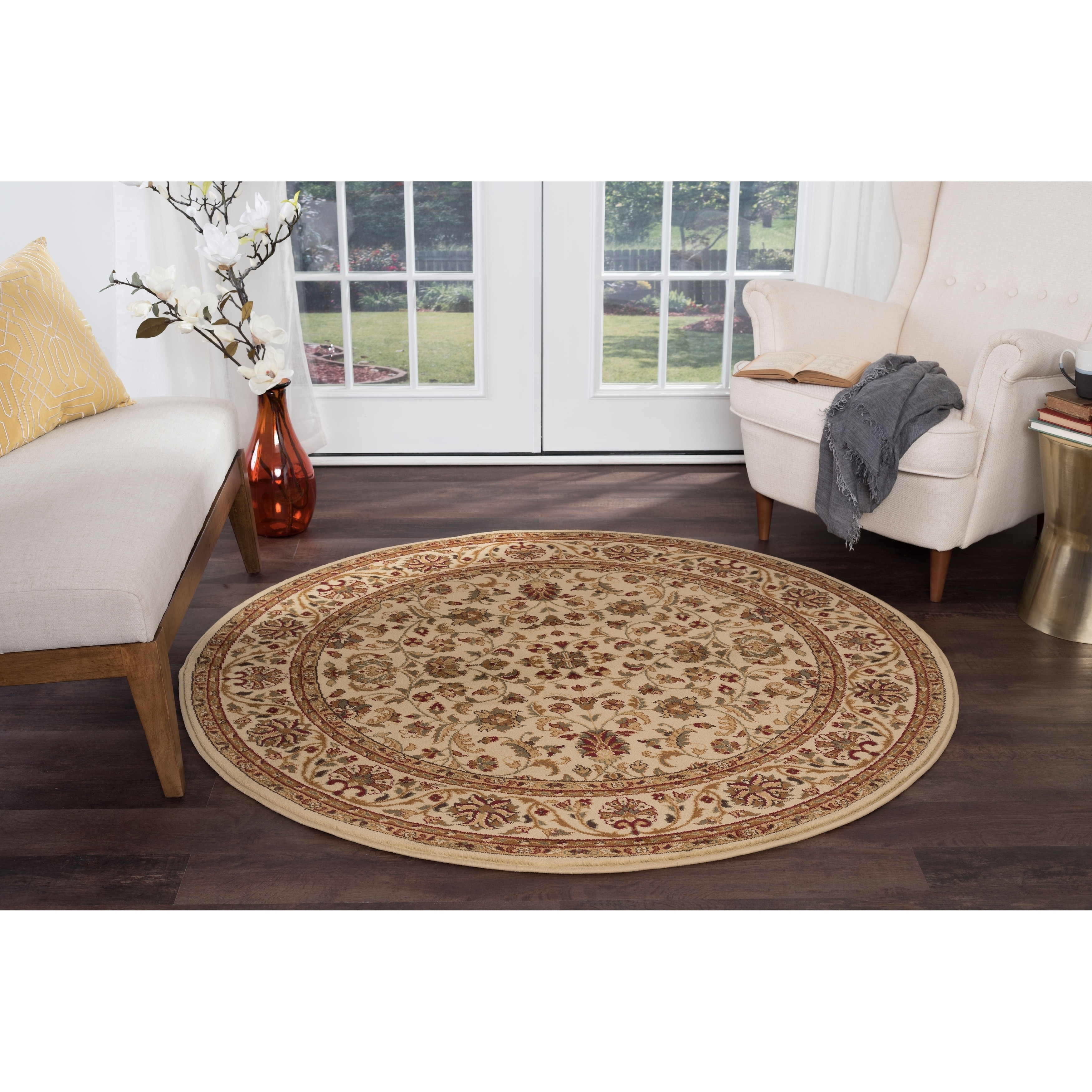 Alise Soho Transitional Area Rug (7'10 Round) (Beige/Off-...