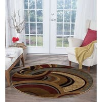 Alise Rugs Infinity Contemporary Abstract Round Area Rug - 5'3 x 5'3