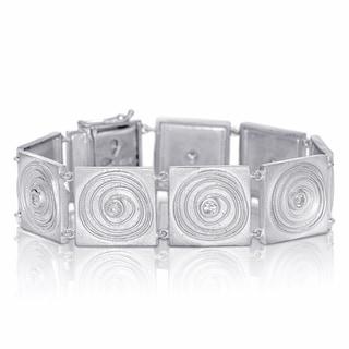 Eloquence Sterling Silver 3/4ct TDW Sand Blast Circle Design Diamond Bracelet (H-I, I2-I3)