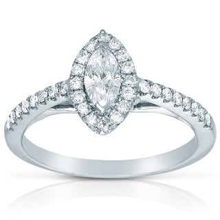 Eloquence 14k White Gold 1/2ct TDW Marquise-cut Diamond Ring