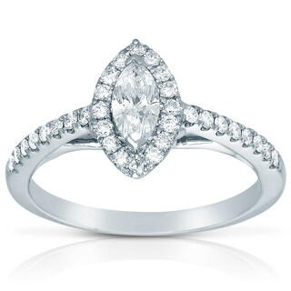 Eloquence 14k White Gold 1/2ct TDW Diamond Marquise Engagement Ring