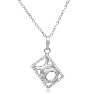 Eloquence Sterling Silver 1/8ct TDW Diamond XO Necklace