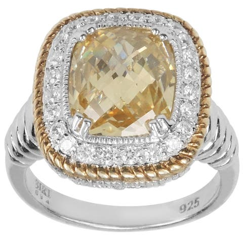 SIRI Sterling Silver Canary & White CZ w/ Gold trim Ring