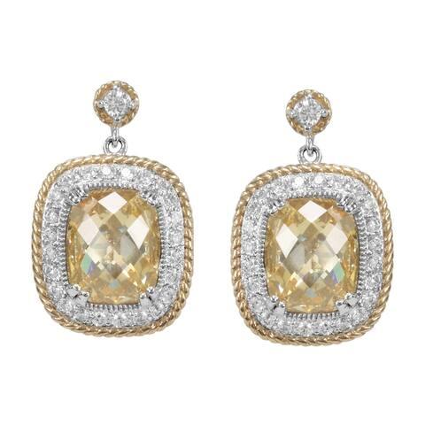 SIRI Sterling Silver Canary & White CZ w/ Gold trim Earrings
