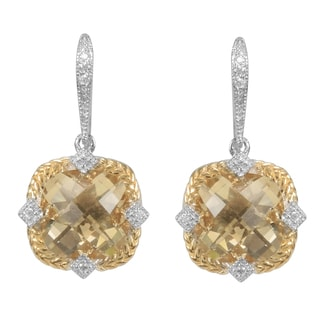 MARC 14k Yellow Gold Overlaid Sterling Silver Champagne Quartz Cubic Zirconia Earrings