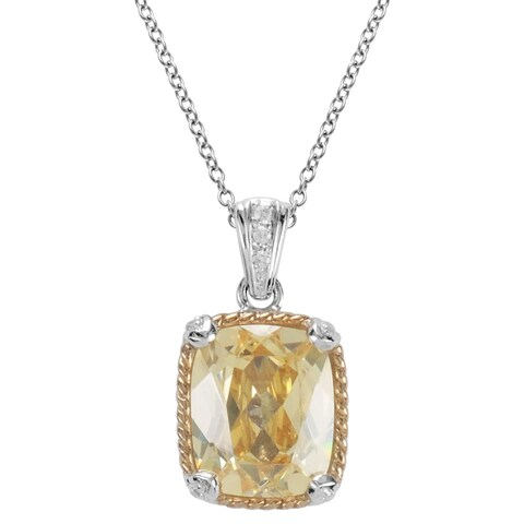 MARC 14k Yellow Gold Overlaid Sterling Silver Canary Cubic Zirconia Pendant Necklace
