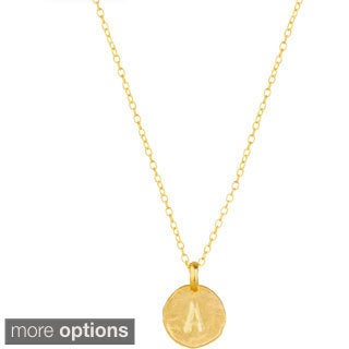 Blue Box Jewels Goldplated Matte Finish Initial Disc Necklace