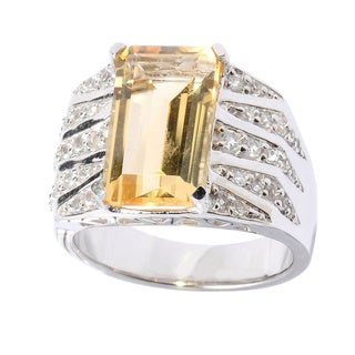 Sterling Silver Emerald-cut Citrine and White Topaz Ring