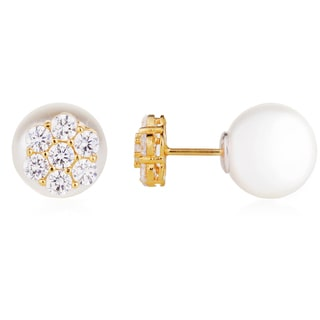 Blue Box Jewels Goldplated Sterling Silver Cubic Zirconia with Simulated Pearl Post Back Earring (12 mm)