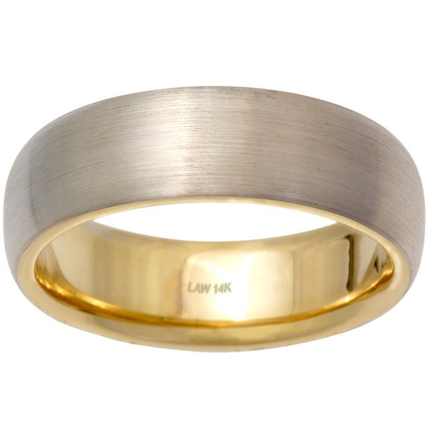 14k Two tone Gold Men s Handmade fort fit Wedding Band Free Shipping