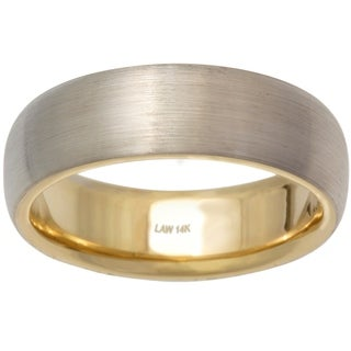 14k Two-tone Gold Men's Handmade Comfort-fit Wedding Band (More options available)