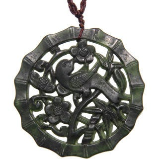 Handmade Happy Bird Dark Green Jade Pendant Necklace (China)