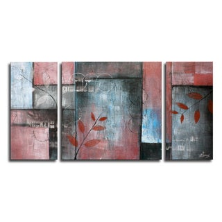 Hand-painted 'Green leaves of spring' 3-piece Gallery-wrapped Canvas Art Set