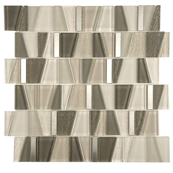 SomerTile 11.75x11.875-inch Orion Beige Glass and Stainless Steel Mosaic Wall Tile (10 tiles/9.9 sqft.)