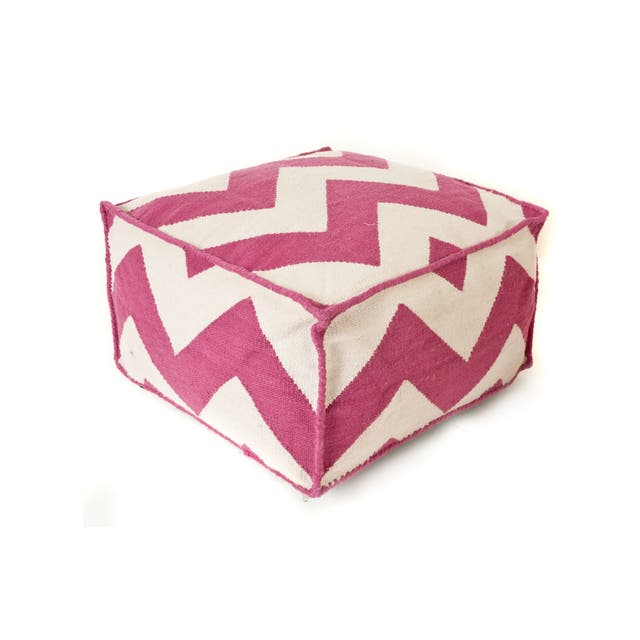 Trendsage Chevron Hot Pink Outdoor Polyester Pouf Ottoman