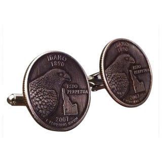 Handmade Men's State of Idaho Quarter Cuff-links