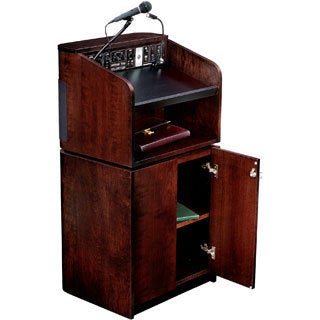 Mahogany/ Walnut Floor Lectern and Wireless Mic Combo