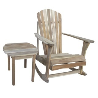 Adirondack Unfinished Acacia Wood Rocker and Side Table Set
