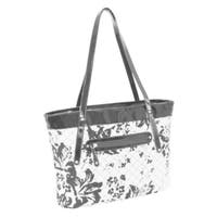 Parinda Fiona Black/ White Floral Quilted Carry-all Tote Bag