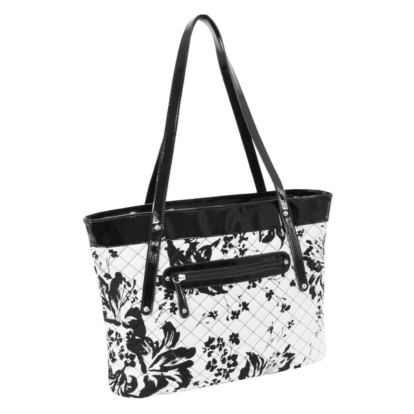 Parinda Fiona Black/ White Floral Quilted Carry-all Tote Bag ... : quilted floral tote bags - Adamdwight.com