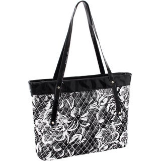 Parinda Fiona Grey Floral Quilted Carry-all Tote