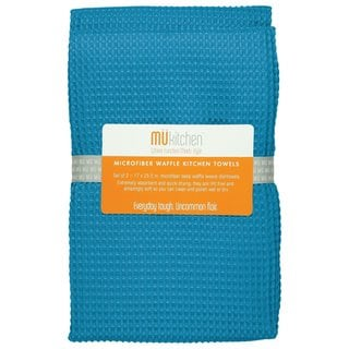Sea Blue Waffle Microfiber Dishtowel (Set of 2)