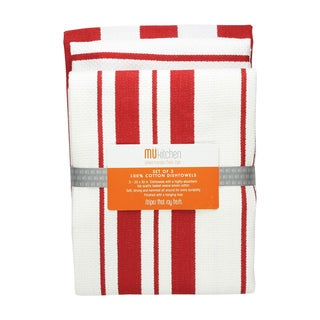 Punch Cotton Striped Dishtowel (Set of 3)