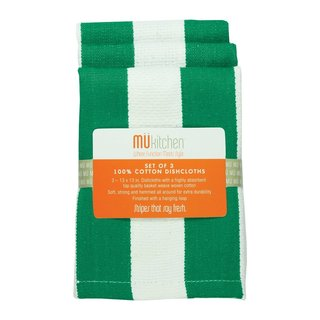 Jade Cotton Strip Dishcloths (Set of 3)