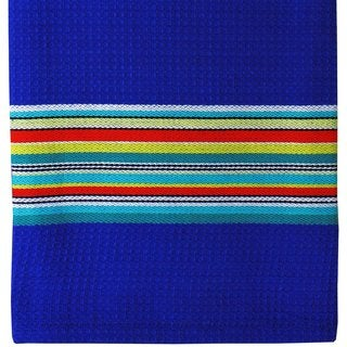 Blue Martini Waffle Stripe Cotton Cloth (Set of 2)