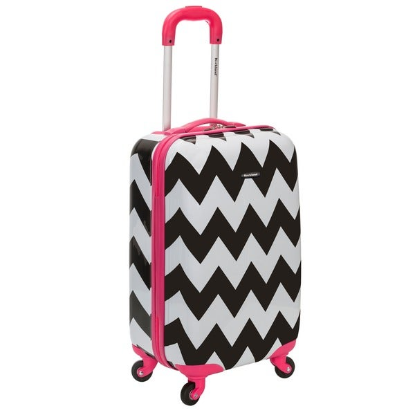 1968b2a87 Rockland Pink Trim Chevron 20-inch Lightweight Hardside Spinner Carry-on  Upright