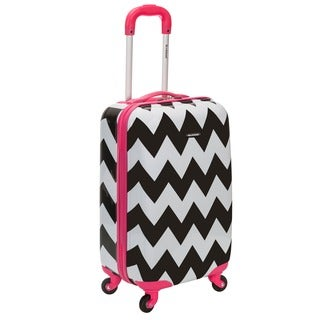 Rockland Pink Trim Chevron 20-inch Lightweight Hardside Spinner Carry-on Upright