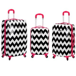 Rockland Pink Trim Chevron 3-piece Lightweight Hardside Spinner Luggage Set