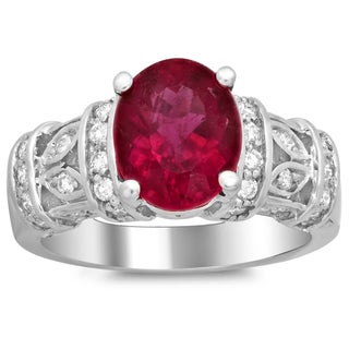 Artistry Collections 14k White Gold 1/ 2ct TDW Diamond and 2 2/ 5ct Rubelite Ring (F-G, SI1-SI2)