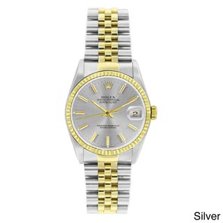 Pre-owned Rolex Men's Datejust Two-tone 18k Gold and Stainless Steel Watch (Option: Silver Stick)