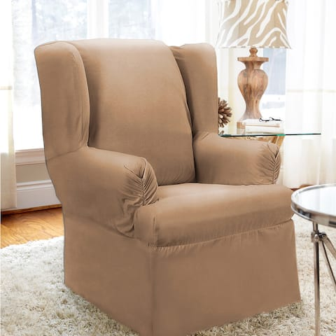 QuickCover Twill One-piece Relaxed Fit Wing Chair Slipcover