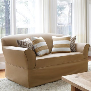 QuickCover Twill One-piece Relaxed Fit Wrap Loveseat Slipcover